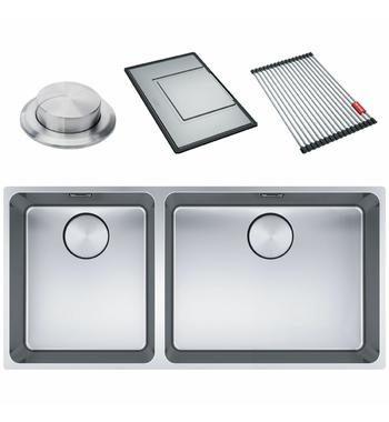 Franke Mythos Mythos Double Bowl 3 Way Installation Sink with Accessories MYX220-5034FPCSBL