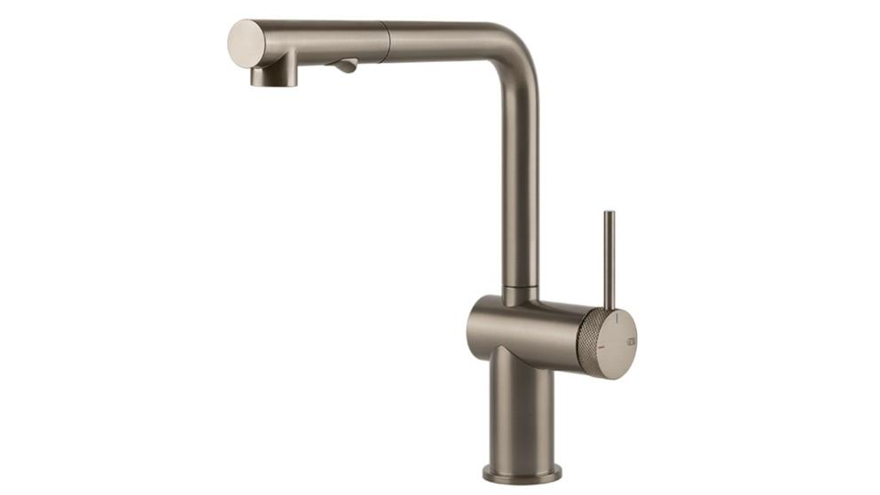 Gessi Inedito Pull Out Dual Function Kitchen Mixer with Modern Knurled Insert Handle – Brushed Nickel