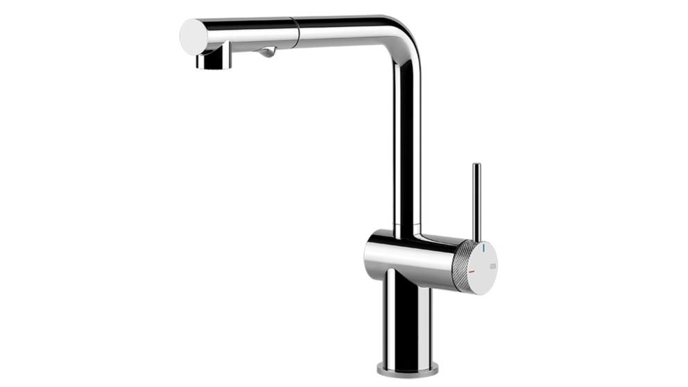 Gessi Inedito Pull Out Dual Function Kitchen Mixer with Modern Knurled Insert Handle – Chrome