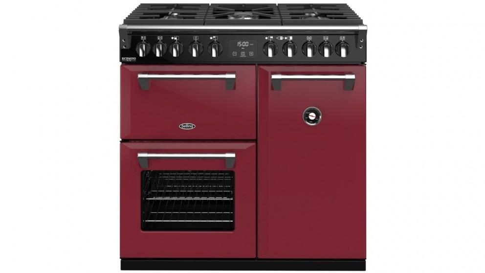 Belling 900mm Colour Boutique Richmond Deluxe Dual Fuel Range Cooker – Chili Red