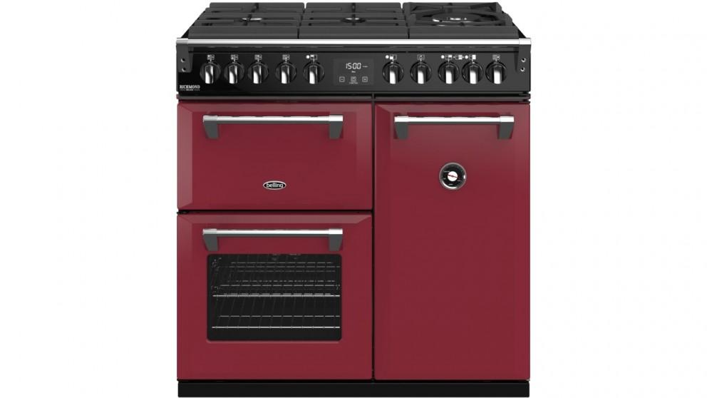 Belling 900mm Richmond Deluxe Dual Fuel Gas-Through-Glass Range Cooker – Chili Red