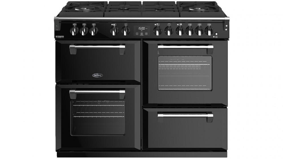 Belling 1100mm Richmond Deluxe Dual Fuel Gas-Through-Glass Range Cooker – Black