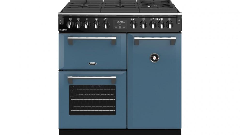 Belling 900mm Richmond Deluxe Dual Fuel Gas-Through-Glass Range Cooker – Thunder Blue