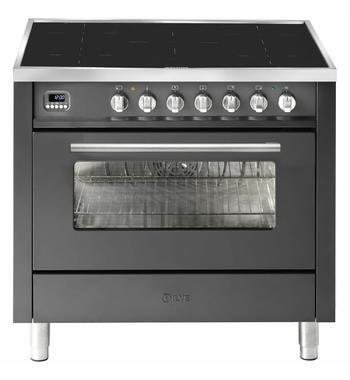ILVE 90cm Pro-Line Single Electric Oven with Induction Cooktop Graphite LBI09WMPMG