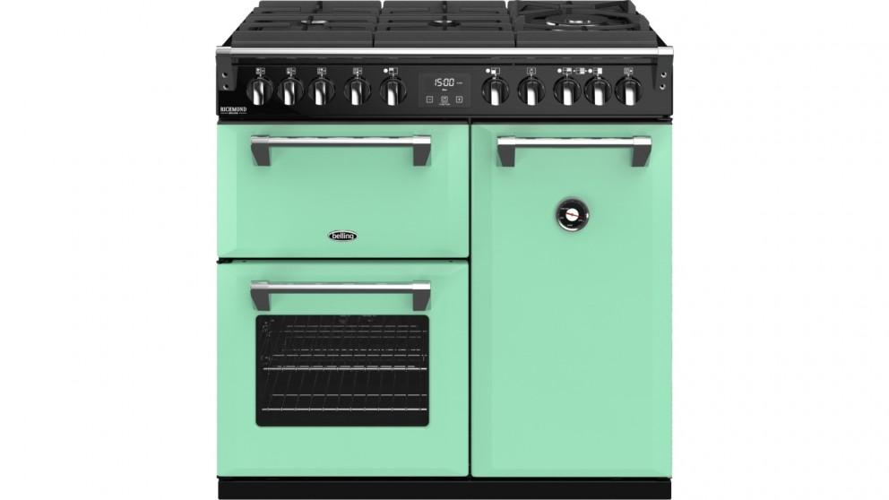 Belling 900mm Richmond Deluxe Dual Fuel Gas-Through-Glass Range Cooker – Mojito Mint