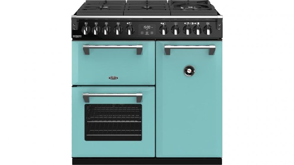 Belling 900mm Richmond Deluxe Dual Fuel Gas-Through-Glass Range Cooker – Country Blue