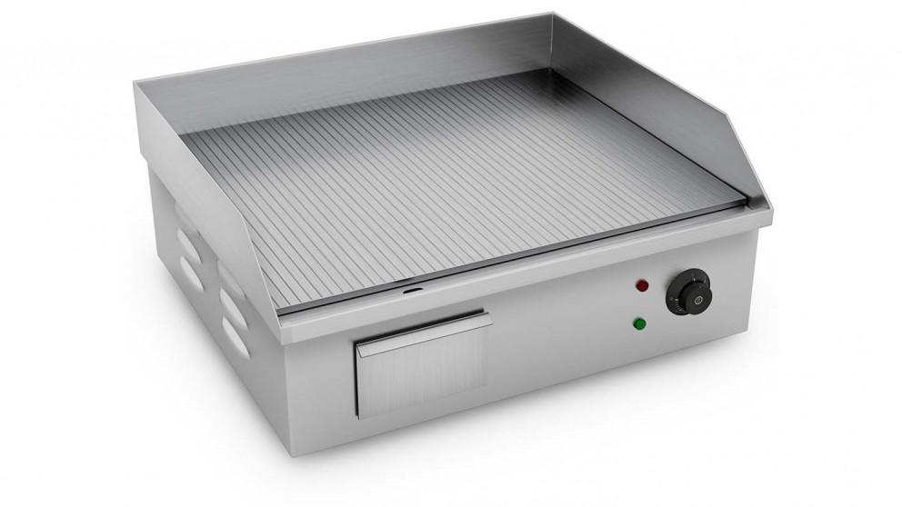 SOGA 2200W Stainless Steel Ribbed Griddle Commercial Grill BBQ Hot Plate