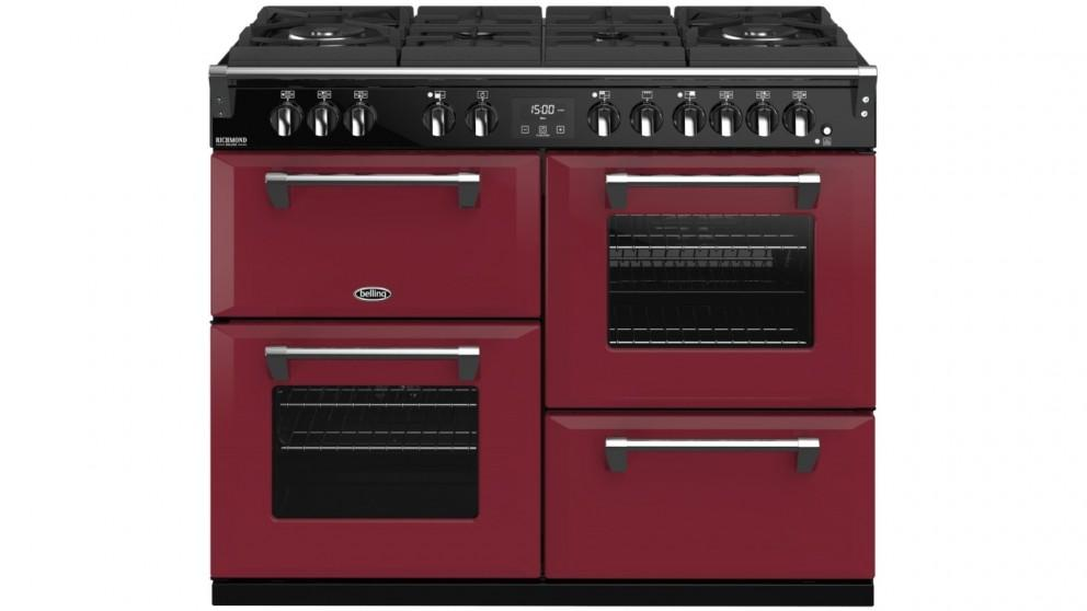 Belling 1100mm Colour Boutique Richmond Deluxe Dual Fuel Gas-Through-Glass Range Cooker – Chili Red