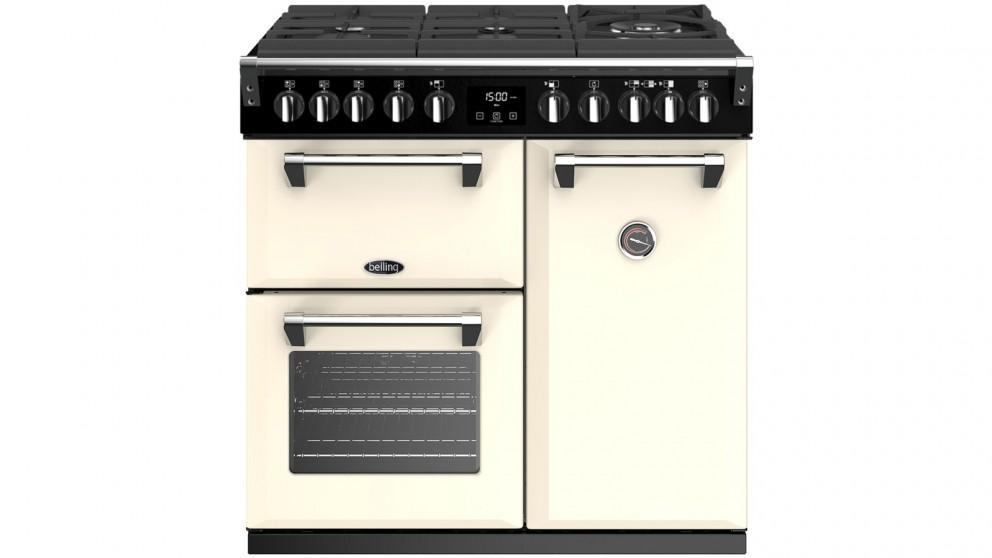 Belling 900mm Richmond Deluxe Dual Fuel Gas-Through-Glass Range Cooker – Cream