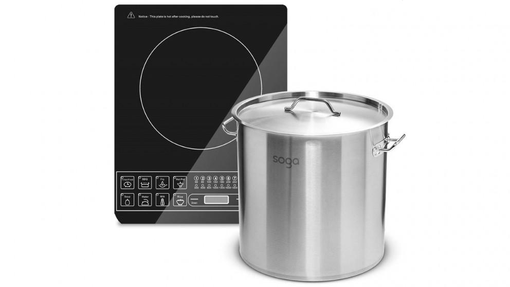 SOGA Electric Smart Induction Cooktop and 21L/30cm Stainless Steel Stockpot