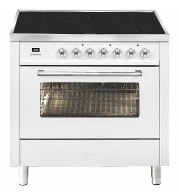 ILVE 90cm Pro-Line Single Electric Oven with Induction Cooktop White LBI09WMPWH