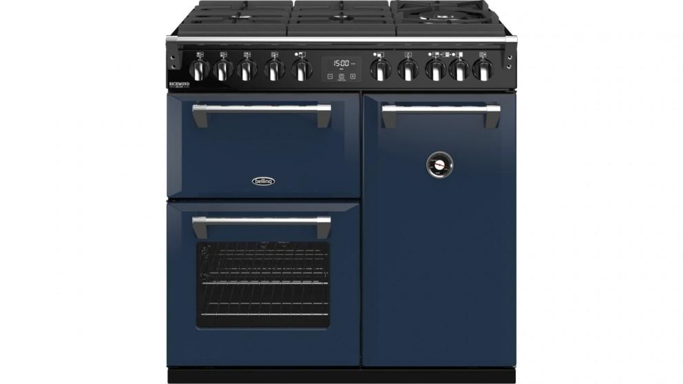 Belling 900mm Richmond Deluxe Dual Fuel Gas-Through-Glass Range Cooker – Midnight Blue
