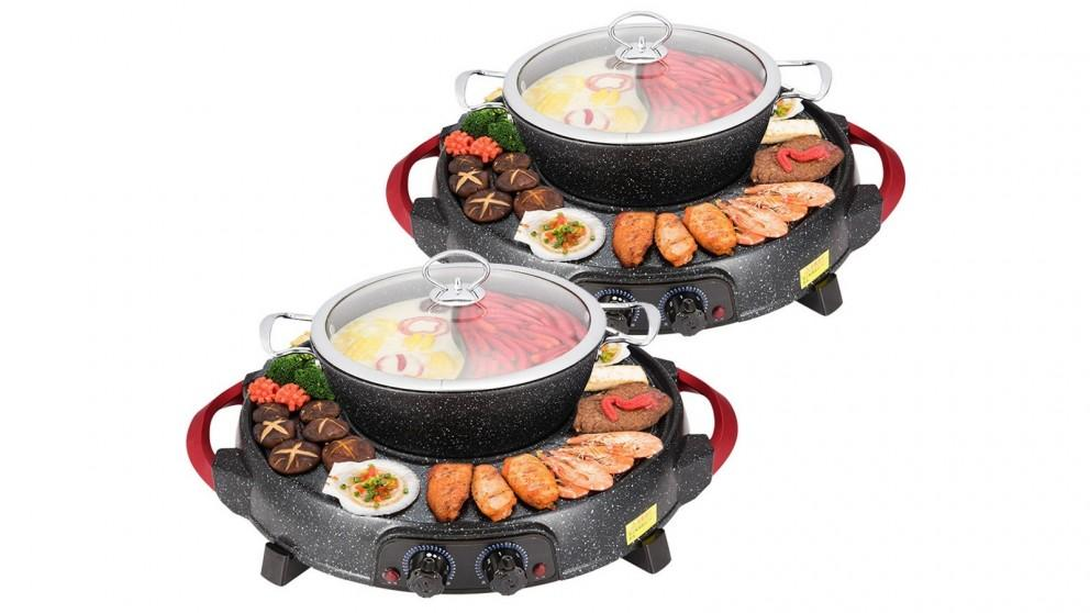 SOGA 2x 2in1 Electric Stone Coated Grill Plate Steamboat Two Division Hotpot