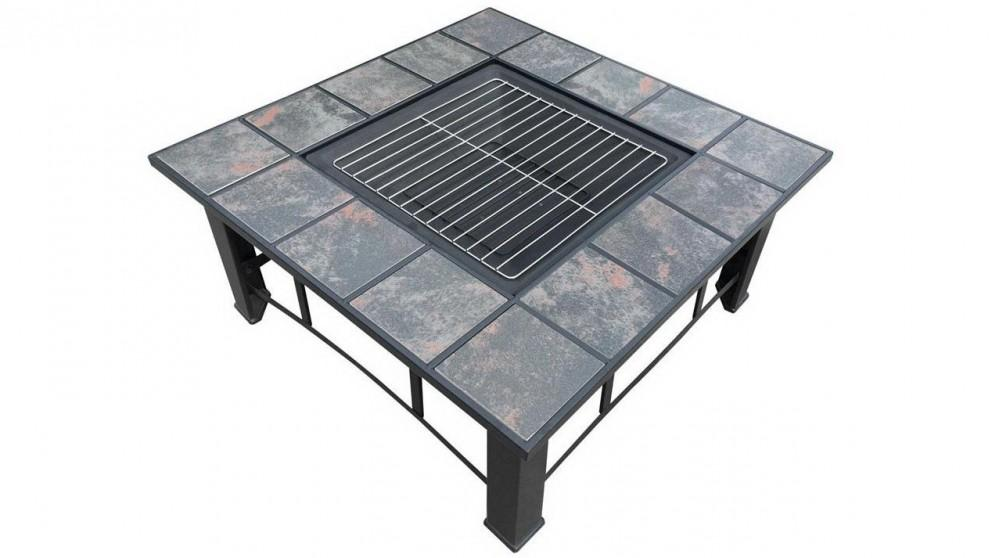 Grillz Outdoor Fire Pit BBQ Table with Table Lid