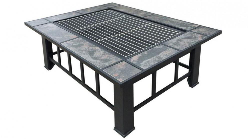 Grillz Outdoor Fire Pit BBQ Table Grill with Ice Tray