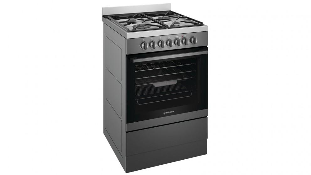 Westinghouse 60cm Dual Fuel Freestanding Cooker with Gas Hob – Dark Stainless Steel