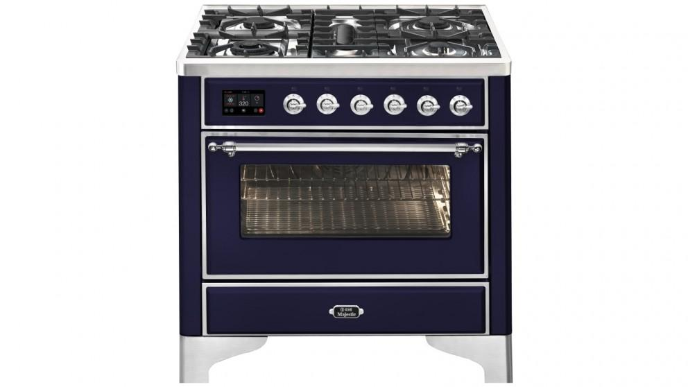 ILVE 900mm Majestic Electric Oven Dual Fuel Freestanding Cooker with Gas Cooktop – Midnight Blue