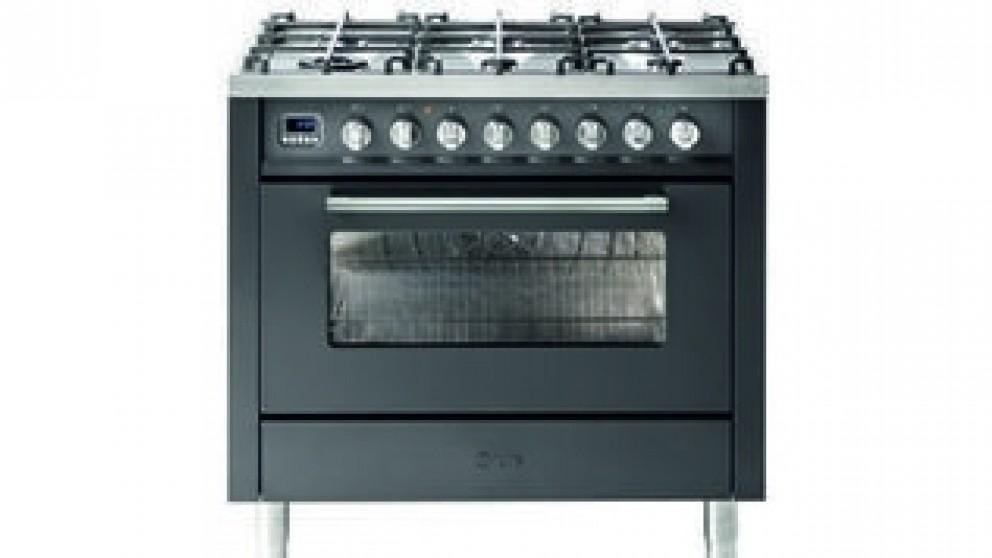 ILVE 900mm Single Oven Dual Fuel Freestanding Cooker with Gas Cooktop – Matte Graphite