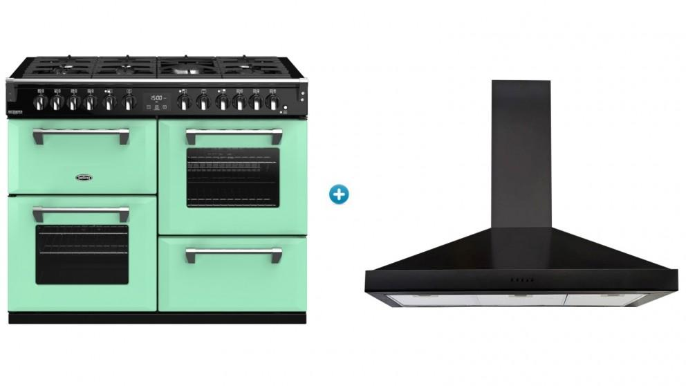 Belling 1100mm Colour Boutique Deluxe Dual Fuel Range Cooker (Mojito Mint) with Canopy Rangehood (Black)