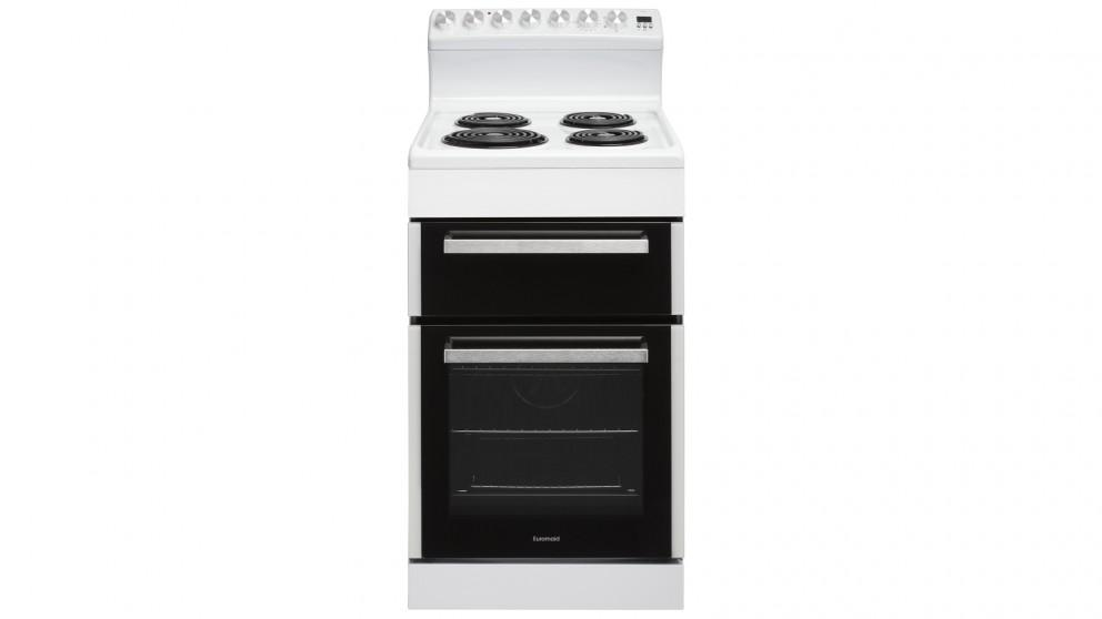 Euromaid 540mm Rear Control Electric Freestanding Cooker with Coil Cooktop – White